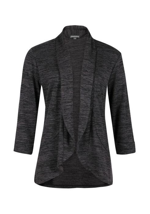 Ladies' Knit Open Blazer, CHARCOAL, hi-res