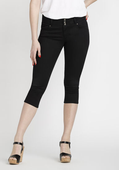 Women's Coloured Skinny Capri, BLACK, hi-res