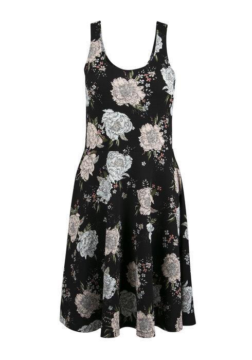 Ladies' Floral Fit & Flare Dress, BLACK PRINT, hi-res