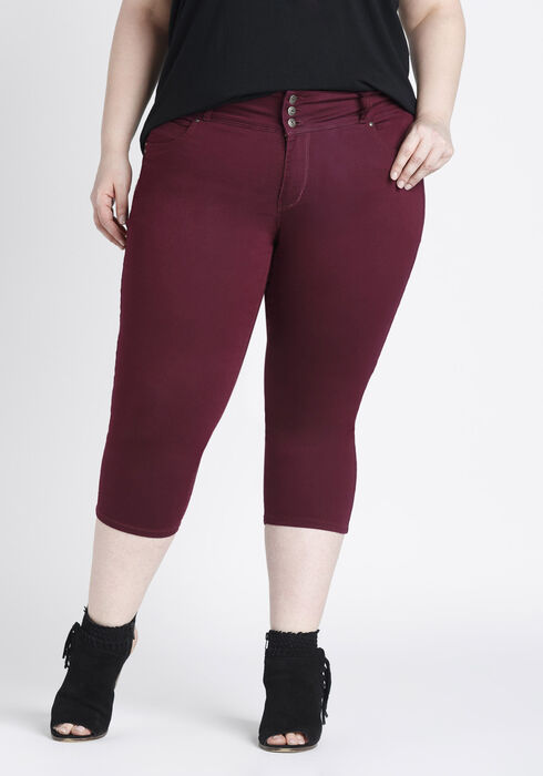 Women's Plus Size Skinny Capri, BURGUNDY, hi-res