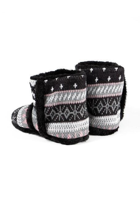 Women's Nordic Slipper Booties, BLACK, hi-res