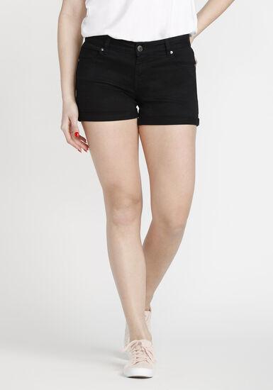 Women's Coloured Not-So-Short Short, BLACK, hi-res