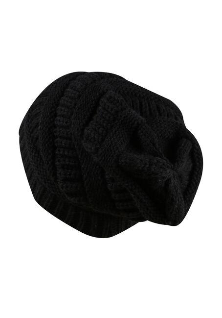 Ladies' Chunky Slouchy Hat, BLACK, hi-res