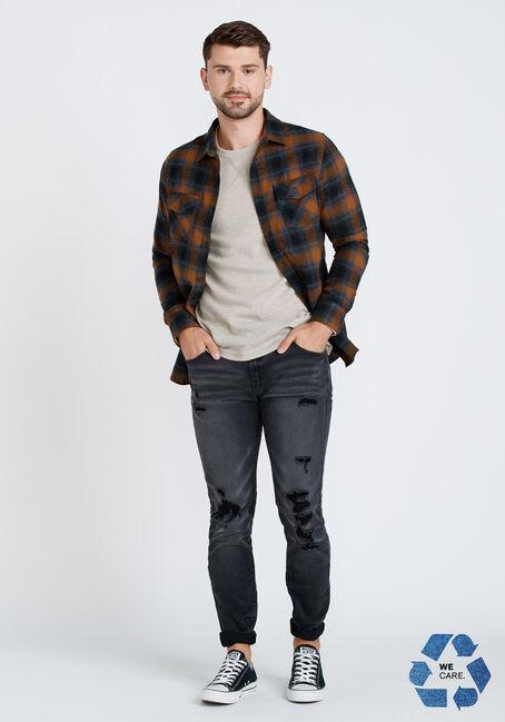 Men's Plaid Flannel Shirt, TOBACCO, hi-res