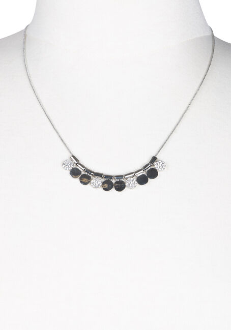 Ladies' Short Mini Discs Necklace, SILVER, hi-res
