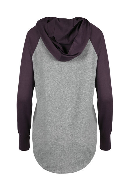 Ladies' Super Soft Baseball Hoodie, GREY/PASS.PURPLE, hi-res