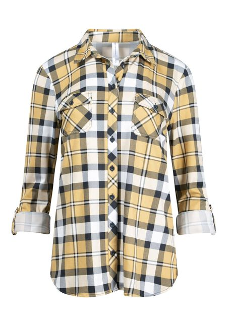 Women's Mustard Knit Plaid Shirt, MUSTARD, hi-res