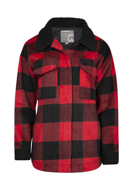 Women's Plaid Jacket with Sherpa