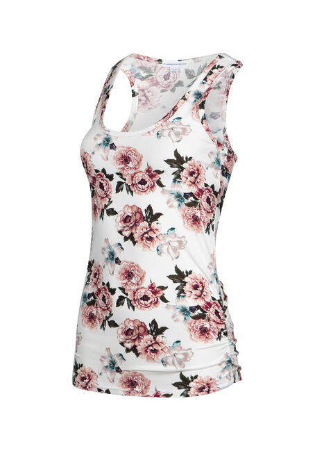 Womens' Floral Super Soft Tank, IVORY FLRL, hi-res