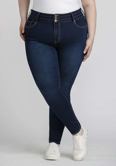 Women's Plus Size 3-Button Skinny Jeans