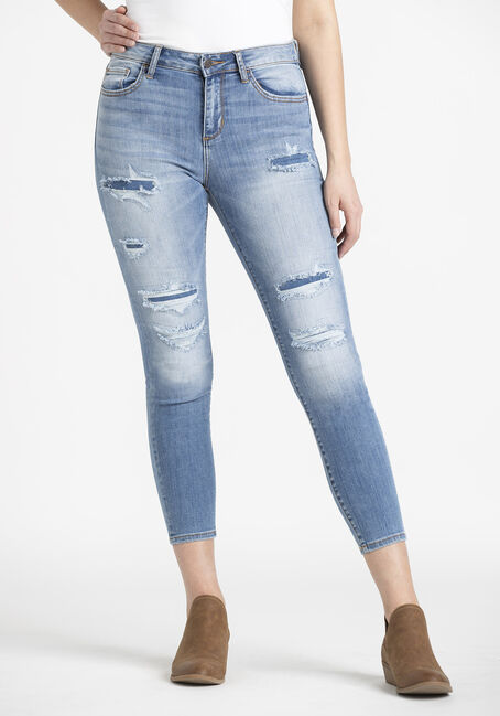 Women's  Rip & Repair Crop Skinny Jeans