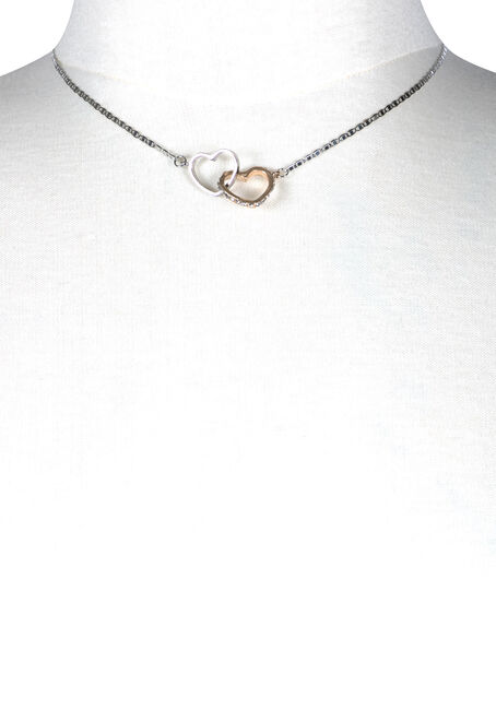 Women's Linked Hearts Necklace, RHODIUM, hi-res