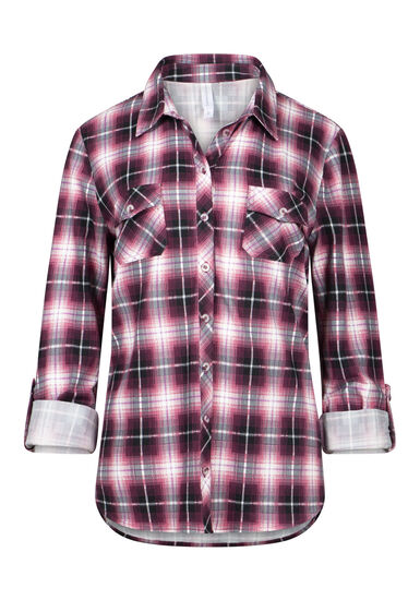 Women's 2-Pocket Knit Plaid Shirt, PINK, hi-res