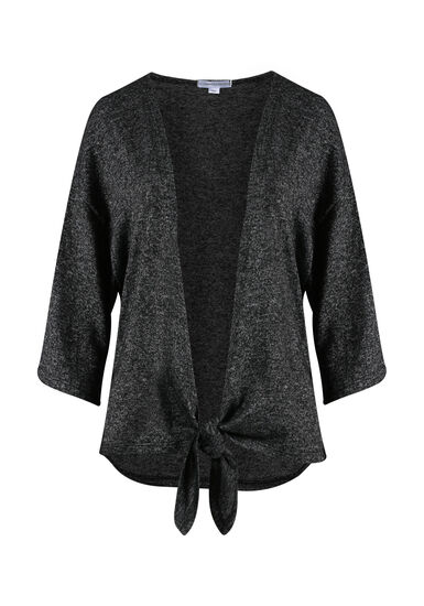 Women's Tie Front Cardigan, CHARCOAL, hi-res