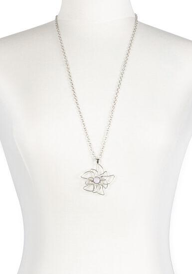 Women's Flower Neckace, RHODIUM, hi-res
