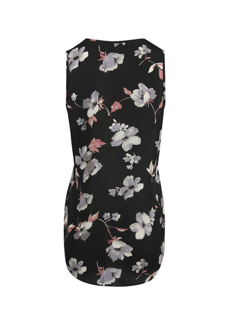 Ladies' Cage Neck Floral Tank, BLACK, hi-res