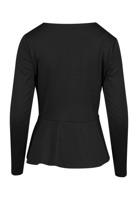 Ladies' Peplum Jacket, BLACK, hi-res