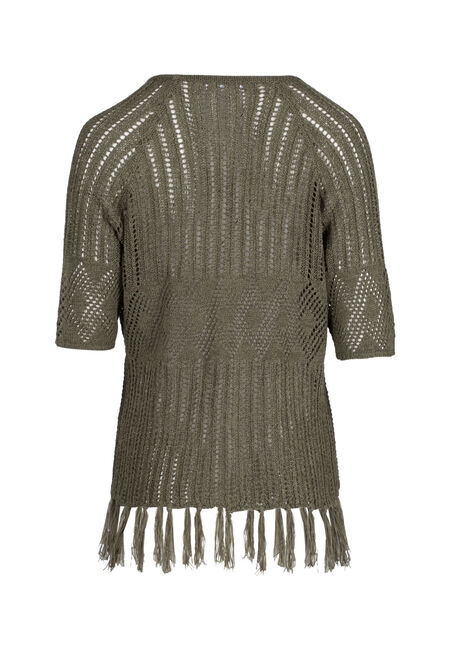 Ladies' Pointelle Fringe Cardigan, IVY, hi-res