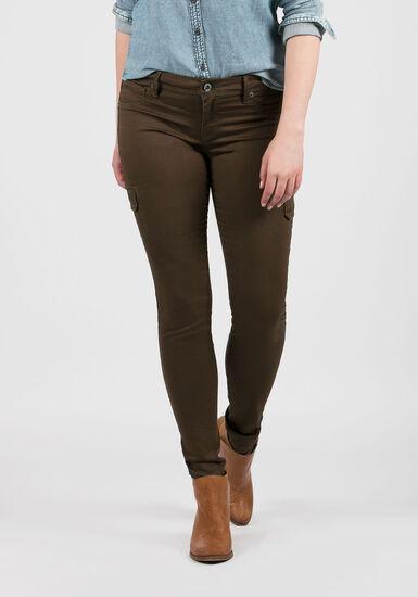 Women's Skinny Cargo Pants, OLIVE, hi-res