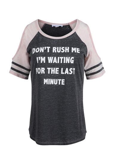 Women's Don't Rush Me Cold Shoulder Tee, BLACK/ROSE QUARTZ, hi-res