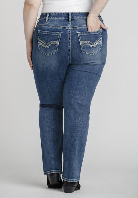 Women's Plus Size High Rise Straight Jeans, MEDIUM WASH, hi-res