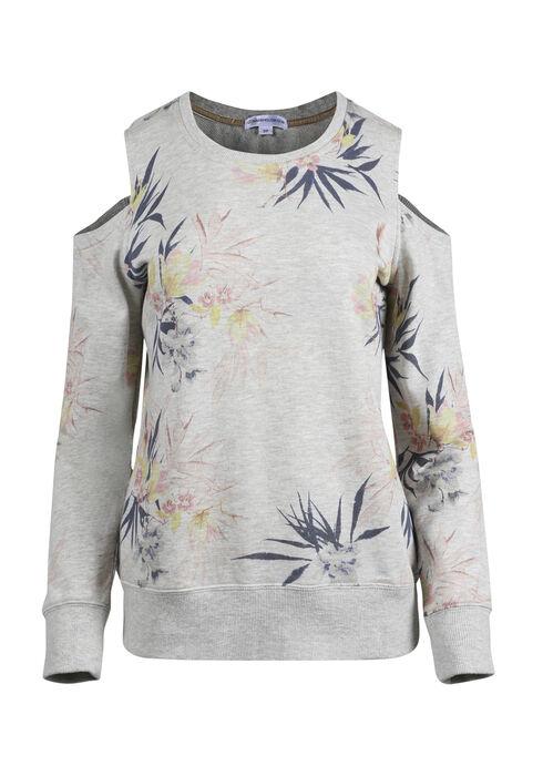 Ladies' Floral Cold Shoulder Fleece, OATMEAL, hi-res