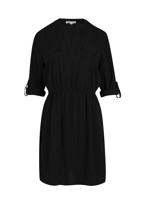 Women's Roll Sleeve Shirt Dress, BLACK, hi-res