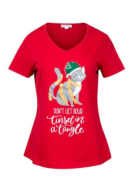Women's Festive Cat Light Up Tee