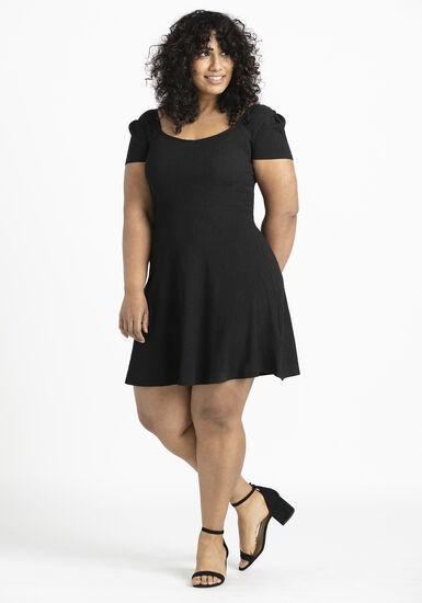 Women's Sweetheart Skater Dress, BLACK, hi-res