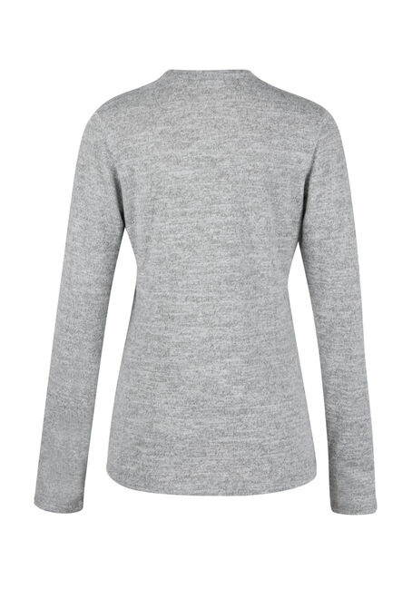 Ladies' Split Neck Top, GREY, hi-res