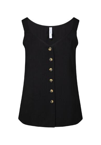 Women's Button Front Tank, BLACK, hi-res