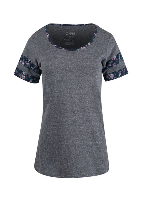 Ladies' Floral Stripe Football Tee