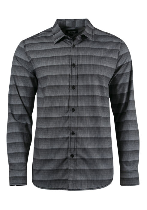 Men's Relaxed Stripe Shirt, BLACK, hi-res