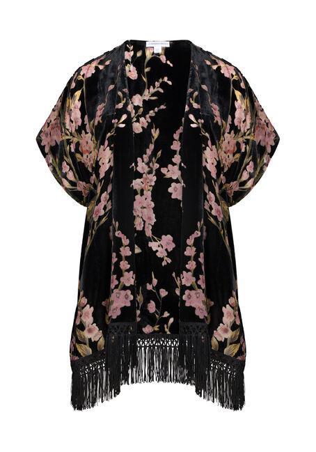 Women's Velvet Floral Fringe Kimono