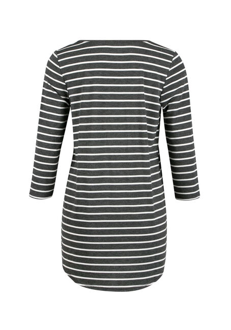 Ladies' Stripe Tunic Tee, CHARCOAL/ BLACK, hi-res