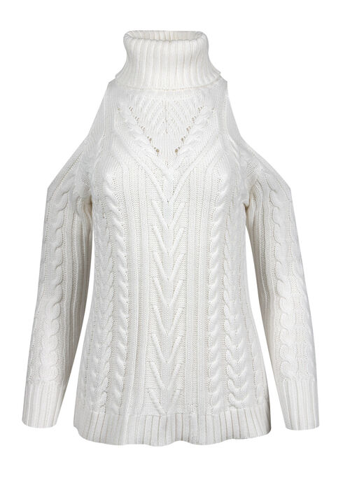 Ladies' Cold Shoulder Sweater, WINTER WHITE, hi-res