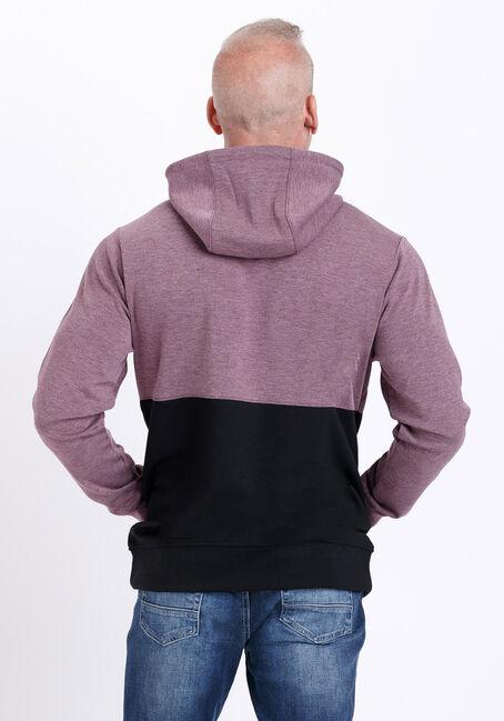 Men's Colour Block Hoodie, BURGUNDY, hi-res