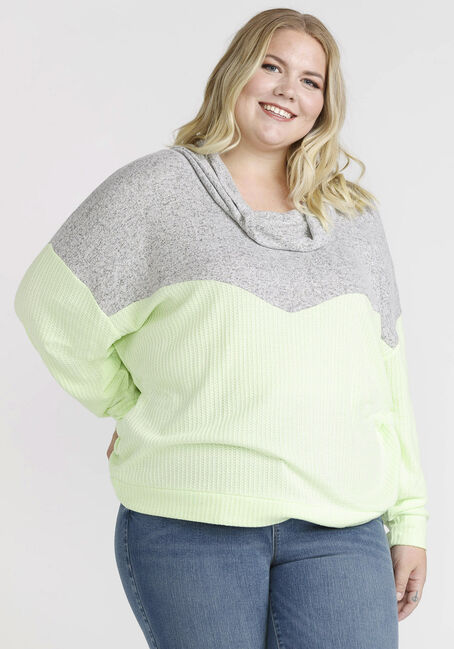 Women's Colour Block Cowl Neck Top