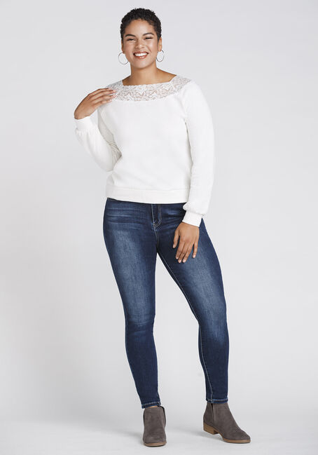 Women's Lace Trim Fleece, IVORY, hi-res