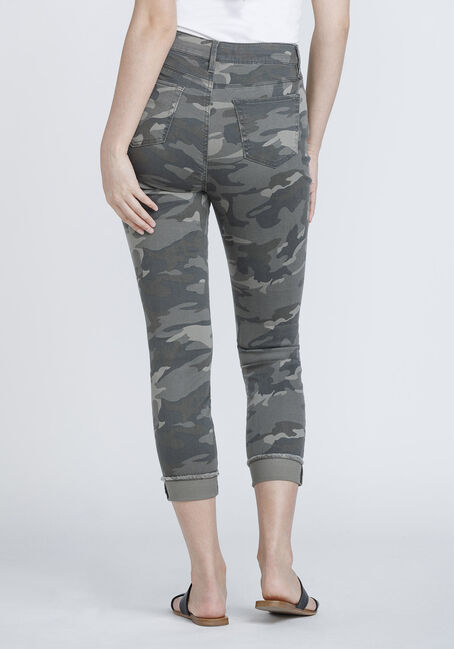 Women's Frayed Hem Camo Skinny Jeans, DARK OLIVE, hi-res