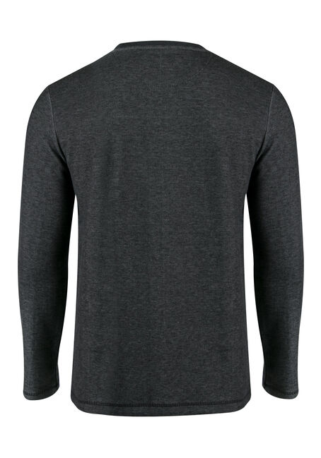 Men's Rib Knit Crew Neck Top, CHARCOAL, hi-res