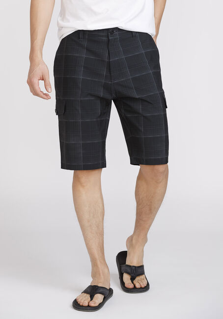 Men's Plaid Cargo Hybrid Short