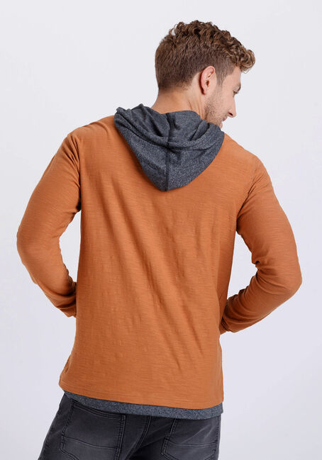Men's Everyday Colour Contrast Hooded Tee, RUSTIC TIMBER, hi-res