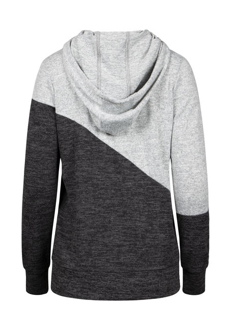 Women's Super Soft Colour Block Hoodie, BLACK/GREY, hi-res