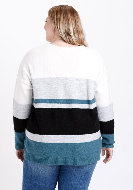 Women's Striped Sweater, BERMUDA BLUE, hi-res