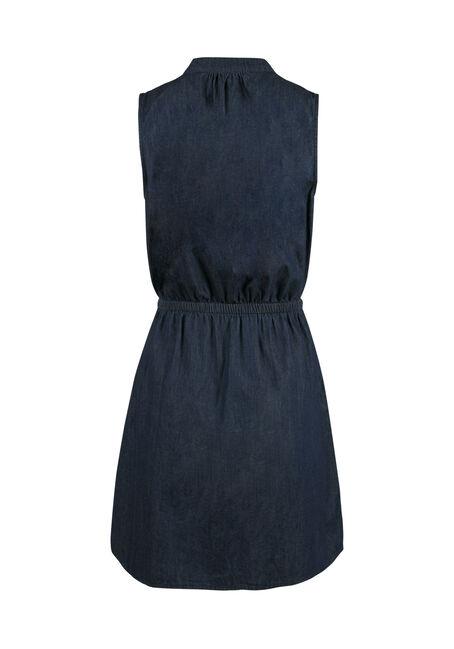 Ladies' Denim Shirt Dress, DARK WASH, hi-res