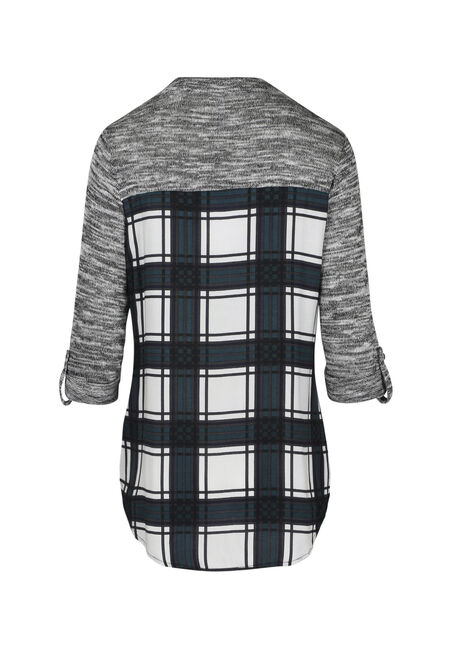 Women's Plaid Roll Sleeve Shirt, TEAL, hi-res