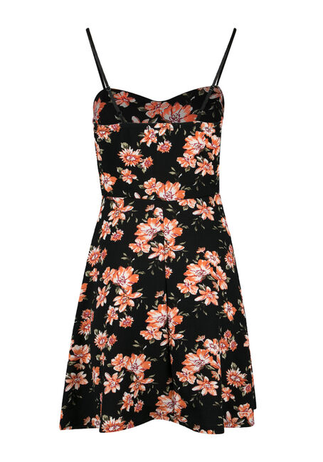 Ladies' Floral Strappy Fit & Flare Dress, CORAL BLACK, hi-res