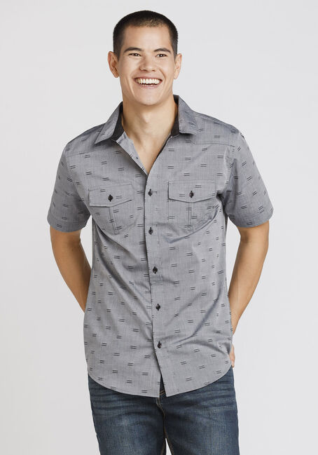 Men's Mini Stripe Textured Shirt, CHARCOAL, hi-res