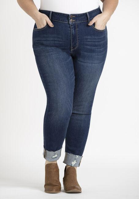 Women's Plus 2 Button High Rise Cuffed Skinny Crop